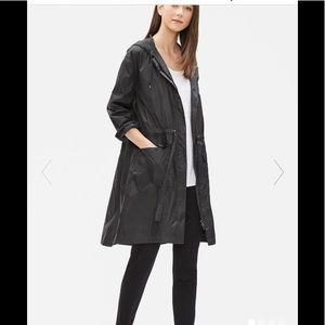NWT Eileen fisher nylon black long rain jacket